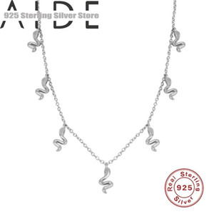 Aide 925 Sterling Silver Gold Chain Snake Pendant Necklace for Women Girls Collier Bijoux Femme 2020 Boho Jewelry Birthday Gift
