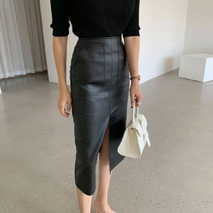 Elegant High Waist PU Fur Faux Leather Penci Skirt Women Wrapped Skirts Mujer Faldas Solid Pockets Femme Jupes 2020 New Winter