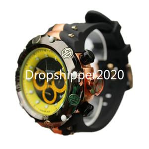 Reloj invicto Hombres Dial grande Dial Rotar Cronógrafo Calendario completo Múltiple Zona horaria Reloj de cuarzo de silicona Reloj de Hombre