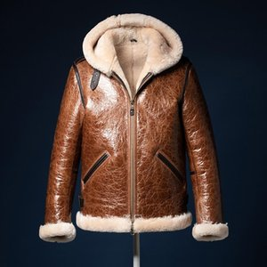 2020 New B3 Flying Fur Jacket Oil Wax Cracked Hooded Super Thick Sheepskin Clothing Men Brown Winter 100% Real Fur Coats