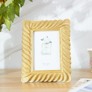 Creative European Retro Resin Photo Frame Light Luxury Golden Photo Frame Set Up Sample Room Home Decoration Set Up Rectangle