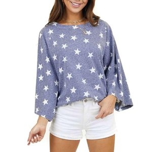 Fashion Stars Print Blouse Shirt Loose O-Neck Tops Tee Casual Autumn Ladies Female Clothes Women Long Sleeve Blusas Pullover