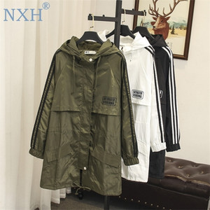 large women female windbreaker hooded cape woman clothes long trench loose plus size outwear duster coat Q1119