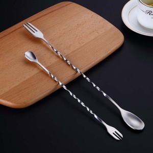 Commercio all'ingrosso acciaio inox cocktail miscelazione di cucchiaio a spirale modello barra cocktail shaker spoon spoon bar strumenti veloce spedizione DWD3280