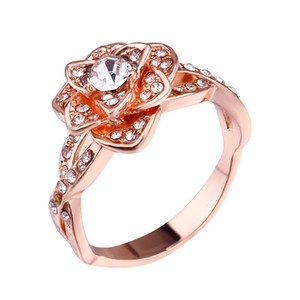 Rose Ring Rhinestone Silver Plated Jewelry Woman Crystal Inlaid New Fashion Accessories Rings Wedding Gifts 2 5xw K2