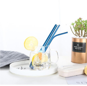 Colorful Reusable Drinking Straw Set High Quality Metal Straw with Cleaning Brush Creative Gifts kitchen Accessories YHM312