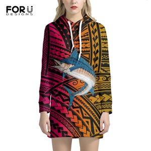 Forudesigns Yeni Varış Rahat Gevşek Uzun Hoodies Elbise Streetwear Kazak Polinezya Geleneksel Kabile Tasarım Sonbahar Kadın '