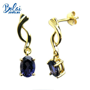 Bolaijewelry,Natural India iolite oval 5*7mm gemstone small earring yellow color 925 silver fine jewelry for girls best gift