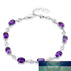 100% 925 Sterling Silver Fashion Purple Crystal Ladies`bracelets Jewelry No Fade Cheap Bracelet Female Women Birthday Gift