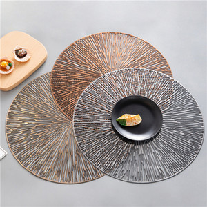 4 6pcs PVC Hollow Round Placemat Waterproof Non Slip Dining Table Mats Heat Insulation Steak Plate Pad Coffee Coaster Kitchen Y1127