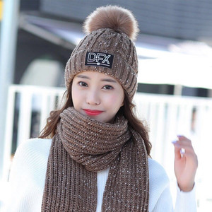 Hat women winter tide Korean version of wild wool hat scarf two-piece suit youth fashion thick warm knitted hat