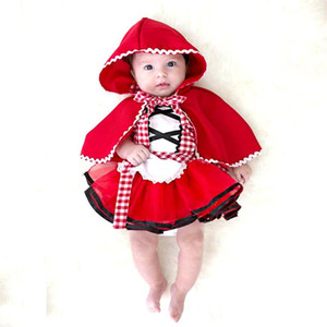 Baby Girls Tutu Dress +Cape Cloak Outfit Newborn Little Red Riding Hood Cosplay Photo Prop Costume Girl Party Dress Baby Clothes