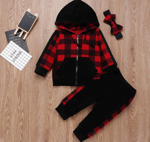 Children's clothing Baby Girls autumn new product Kids Clothes plaid hooded top + trousers and headband three-piece suit Sweatshirt Set