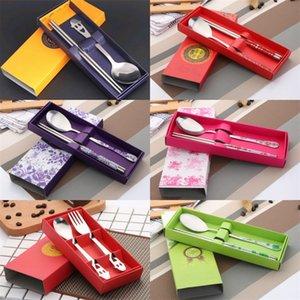 Sisting Smiling Face Setways Set Creative Boda Favor Party Steel Cutlery Cutlery Tablete Traje Souvenir para Invitado con Caja 1 68SM YY