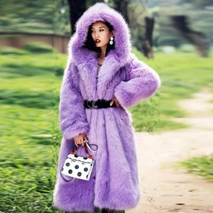 2020 New Winter Faux fur coat Ladies Fashion Luxurious Belt Thicken Hooded Plush Overcoat High-end Ladies Tops Outerwear Warm