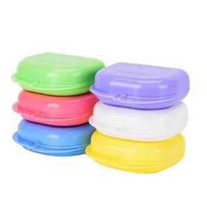 Caixas de armazenamento de braçadeira perfurada caixa de armazenamento de dente buckguards caixa biteguards caixa colorida dental ortodôntic retentores dentaduras esporte wmq100
