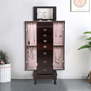 Jewelry Armoire Cabinet Storage Chest Stand Organizer Mirror Top with 7 Drawers Wooden Jewelry Mirror Cabinet US Stock
