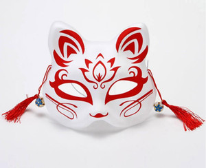 Japanese Fox Masks Hand-painted Style PVC Fox Cat Mask Cosplay Masquerade Festival Ball Kabuki Kitsune Cosplay Costume SN3495