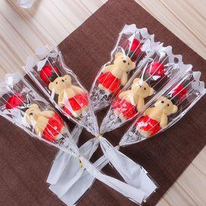Одинокий медведь мыло цветок медведь моделирования искусственный цветок роза одна роза для дня Святого Валентина вечеринка одиночный букет подарок BWF3617