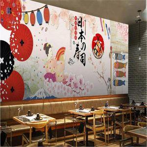 Обои на заказ Пользовательские Японские Укио-Е Леди 3D Росписи Обои для Суши Ресторан Кухня Промышленный декор Фон Обои