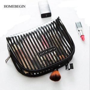 HomeBegin Cosmetic Bag PVC Bolsas de maquillaje de PVC Organizador de viajes Caja de belleza necesaria Bolsa de aseo Bolso Lavado Viaje Maquillaje Bolsa de rayas