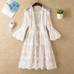 2019 New Women Summer Three Quarter Flare Sleeve Floral Lace Thin Long Cardigan Coat Ladies Solid Wild Joker Casual Open Stitch