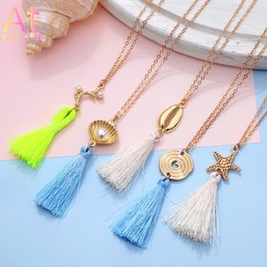 Pendant Necklaces 2021 Boho Long Fringe Tassel For Women Collier Femme Imitation Pearl Shell Starfish Conch Bohemian Jewelry
