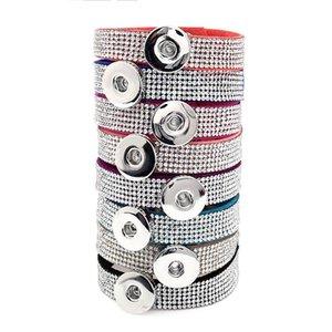 Women Snap button Bracelet Bangle Bling Rhinestones PU Leather Wristband DIY Accessory Bracelet Fit Snap Buttons & Slide Charms