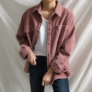 Vintage Corduroy Shirt Women Asymmetrical Pockets New Korean Blouse Femme Loose All match Boyfriend BF Style Woman Shirts Casual