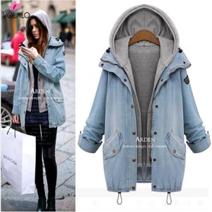 Plus Size 6XL New Fashion Spring Autumn Winter Oversized Jeans Jacket Women Loose Hooded Jean Jacket Coat Female