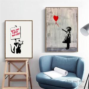 Banksy 생활 재미있는 아트웍 포스터와 인쇄 벽 아트 캔버스 그림 거실 장식 홈 장식 unframed upros