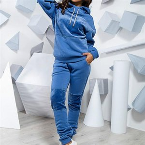 2pcs Fashion Casual Running Hoodies +Trousers Set Female Women Solid Sweatshirts Suit Autumn Winter Two-piece Ladies Pullovers