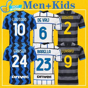 Inter lukaku lautaro hakimi 2020 2021 كرة القدم جيرسي باريلا دي vrij 20 21 أعلى جودة كرة القدم قميص الرجال + أطفال عدة