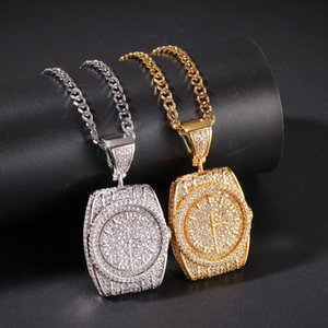 Gold Silver Dial Pendant Necklace Mens Hip Hop Necklace Jewelry New Fashion Watch Pendant Necklaces With Gold Cuban Chain