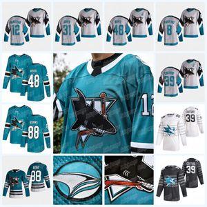 San Jose Sharks 2021 Heritage Jersey 12 Patrick Marleau 88 Brent Burns Logan Couture Evander Kane Martin Jones Nick Desimone