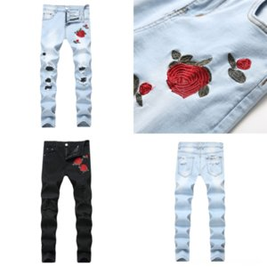 D4QZS EH · MD® Brilhante Waistskinny Jeans Masculino Drawstring Elastic Robin Jeans Mens Tamanho 44 Gold Joelho Hole Hole Buraco Calças Slim Pants Reflexivo