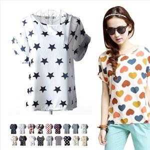 High Quality Girls Chiffon T Shirts Tops Loose Ladies T shirts Striped Great Sales Drop Shipping Good Quality