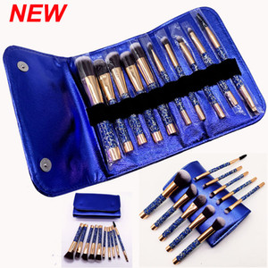 Makeup Brushes Set Sapphire blue Diamond 10 Pcs Cosmetics Brush with Bag Makeup Brush Powder Eyes Foundation Blush Eyeliner Brow Brushes kit