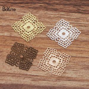 Boyute (100 piezas / lote) 23mm Metal Brass Plaza Plaza Filigrana Hallazgos DIY Accesorios de joyería hecha a mano