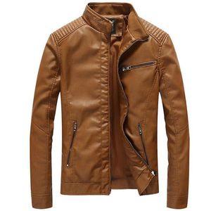 Yeni Tasarımcı Yeni Deri Ceketler erkek Dış Giyim Rahat Yıkanmış Biker Motosiklet Ceket Erkekler Moda Faux Deri Mont 5XL Jaqueta de Couro