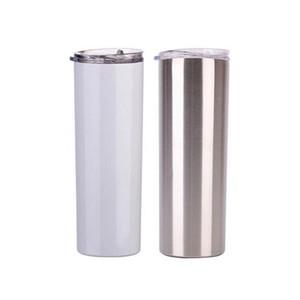 Benutzerdefinierte 20Oz 30oz Sublimation Gerade dünne Tumbler Edelstahl Tumbler doppelwandiges Vakuum isoliert mit versiegeltem Deckel und Metallhalm