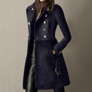 2020 зимняя женская куртка шерстяная пальто длинной кнопки тонкий пальто женские офисные одежды черные элегантные дамы теплые сексуальные пальто lj201201