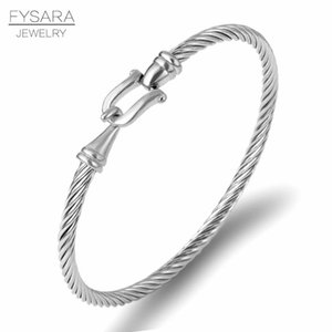 Fysara Trendy Charm Cuff Bracelets Bangles For Women Gold Color 316l Stainless Steel Wire Thin Bangles Jewelry sqcIzp