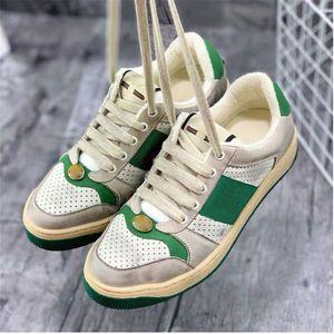 Top Quality Man Dirty Designer Sapatos de Couro Real Screener Designer Sneaker Novo Ace Bordado Morango Sapatos Casuais para Mulheres