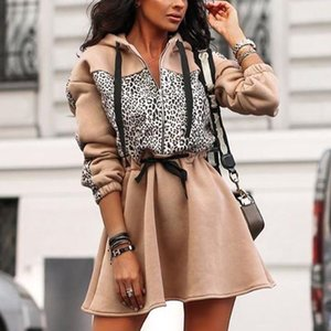 Casual Women Autumn Hoodie Dress Leopard Patchwork A-line Hooded Winter Dress 2019 Stylish Female Zipper Loose Dresses robe D25 Z1202