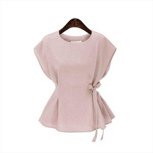 Plus Size Summer Tops Vintage Sleeveless Women Blouses Solid Peplum Top Elegant Side Lace Up Shirt Women Blusas Feminina