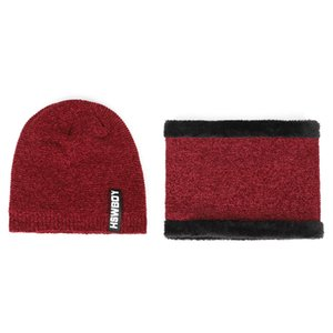 2020 fashion Knitted hat and scarf Hat Scarf-Sets Winter Women Warm hot selling 2pcs ski cap and scarf Winter Men Hat And Scarf Y1128