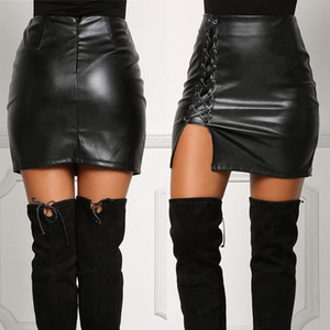 New Womens Sexy Bandage Leather Skirt High Waist Pencil Bodycon Short Mini Skirt