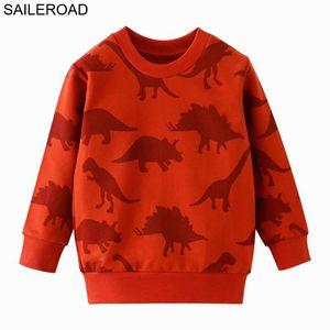 Saileroad Dinossauro moletom bebê meninas meninos hoodies toddler crianças camisolas de camisolas de luvas longas do pescoço das crianças