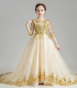 Charming Champagne Gold Applique Flower Girls' Dresses Girl's Brithday Dresses Girls' Formal Dress Holiday Dresses Custom